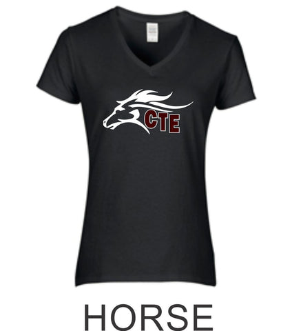 CTE Ladies Fit Black Short Sleeve Tee in 4 New Designs- Matte or Glitter