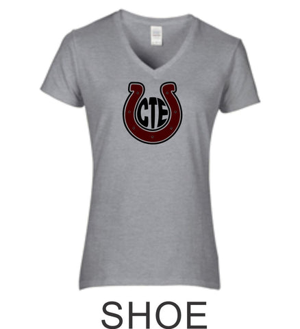 CTE Ladies Fit Grey Short Sleeve Tee in 4 New Designs- Matte or Glitter