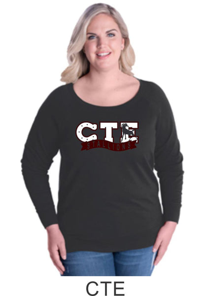 CTE Curvy Ladies Slouchy Pullover in 4 New Designs- Matte or Glitter