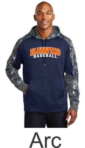 Hawks Baseball Colorblock Hooded Wicking Sweatshirt- in 2 designs