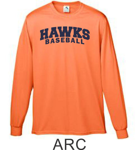 Hawks Baseball Wicking Long Sleeve Tee- 4 Designs