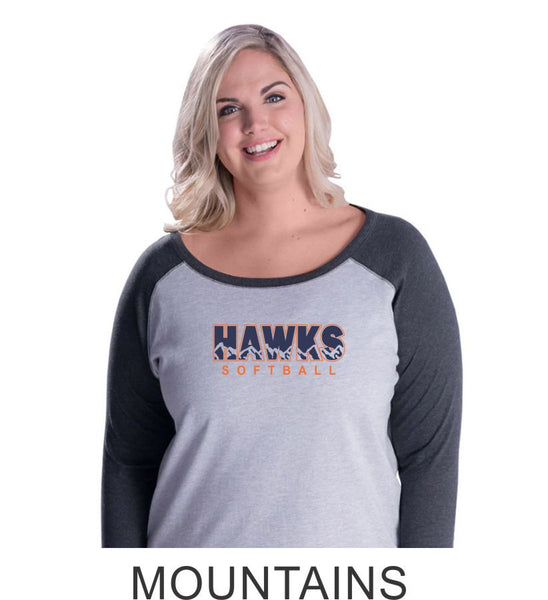 Hawks Softball Curvy Lady Raglan- 3 designs-Matte or Glitter