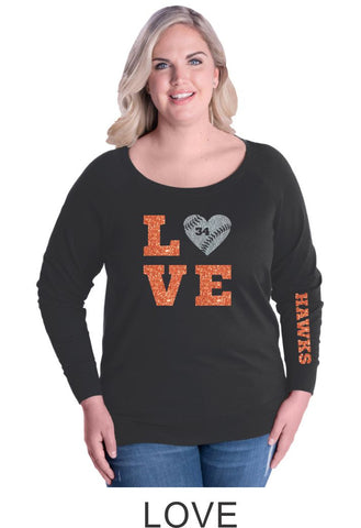 Hawks Curvy Ladies Slouchy Pullover- in 2 designs- Matte or Glitter