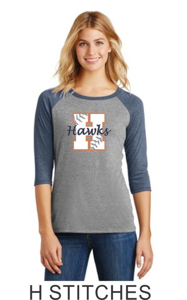 Hawks Stitches Ladies Raglan- Matte or Glitter