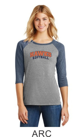 Hawks Softball Ladies Raglan- 3 designs- Matte or Glitter