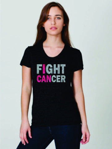 Pink Ribbon I CAN Track Tee- Matte or Glitter