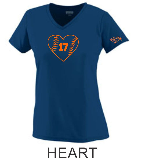 Hawks Softball Ladies Wicking T-Shirt- 3 Designs