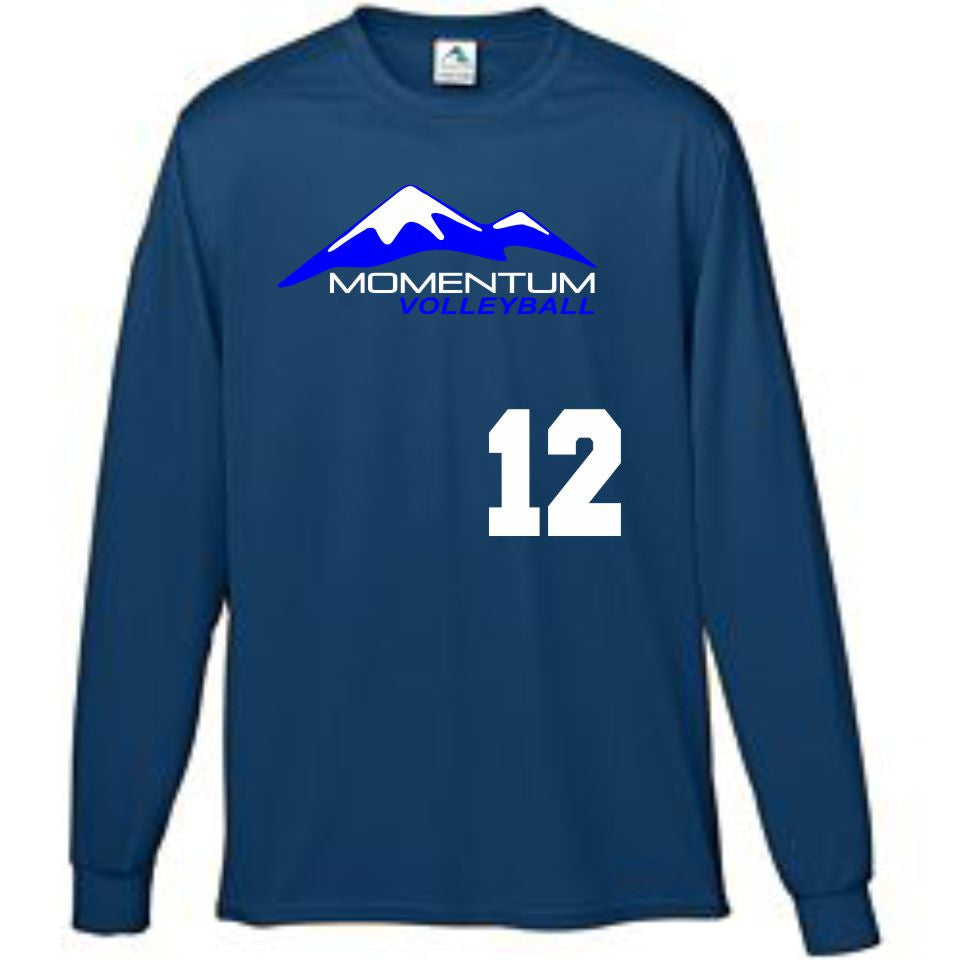 Momentum Volleyball Logo Long Sleeve Wicking Tee