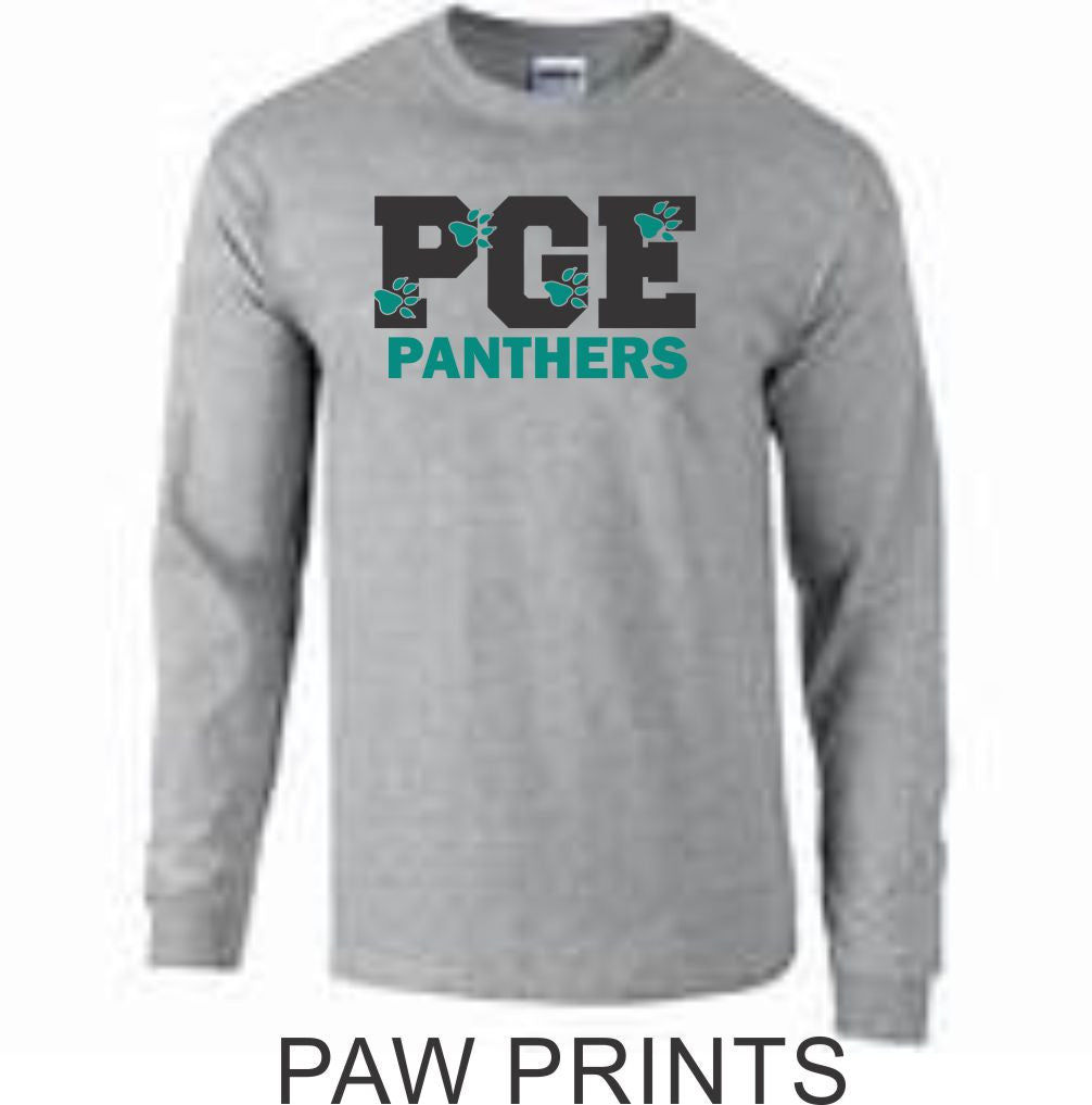 PGE Grey Long Sleeve T-Shirt- 7 Designs