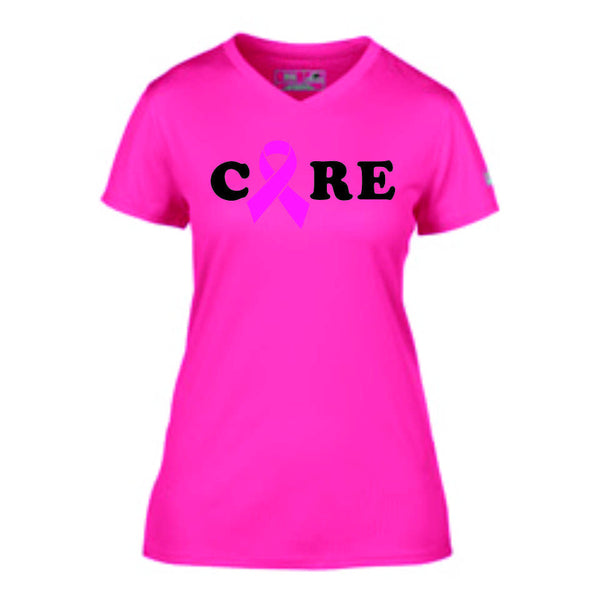Pink Ribbon Cure Ladies Performance V Neck Shirt
