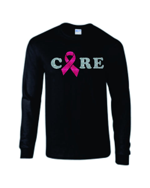 Pink Ribbon Cure Long Sleeve Tee- Matte or Glitter