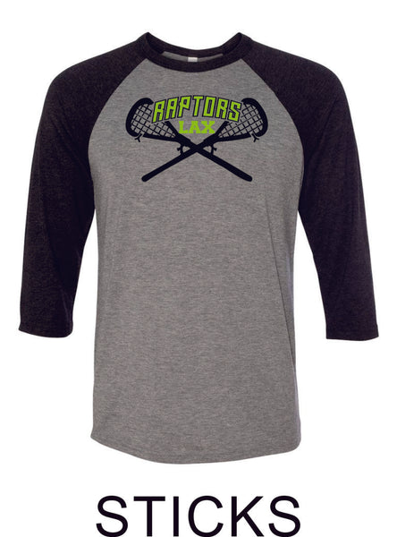 Raptors Lacrosse Raglan Unisex T-Shirt- 5 designs- Matte and Glitter