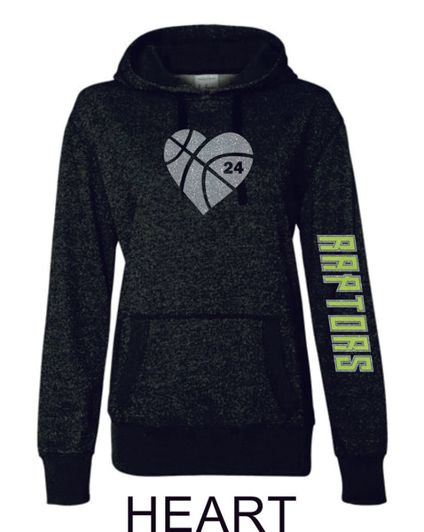 Raptors Ladies Sparkle Fabric French Terry Hoodie- 3 Designs- 4 Sports