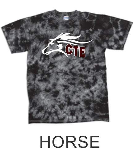 CTE Black Tie Dye T-Shirt- 5 Designs
