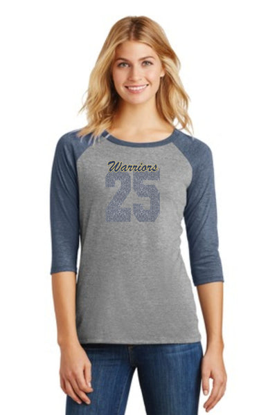 Warriors Custom Number Raglan- Matte or Glitter