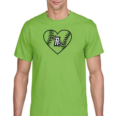 Raptors Baseball Heart Design Basic Tee- Matte or Glitter
