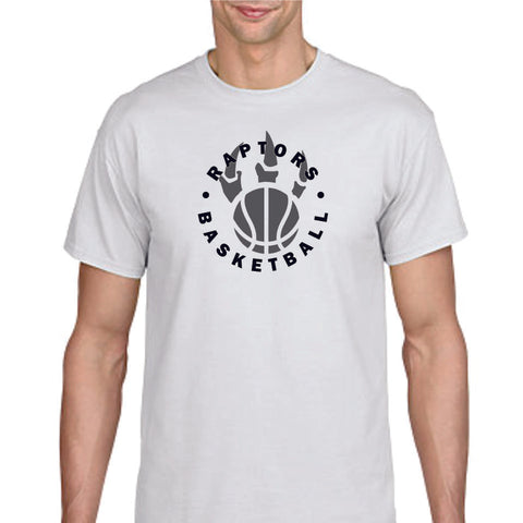 Raptors Basketball Circle Design Basic Tee- Matte or Glitter