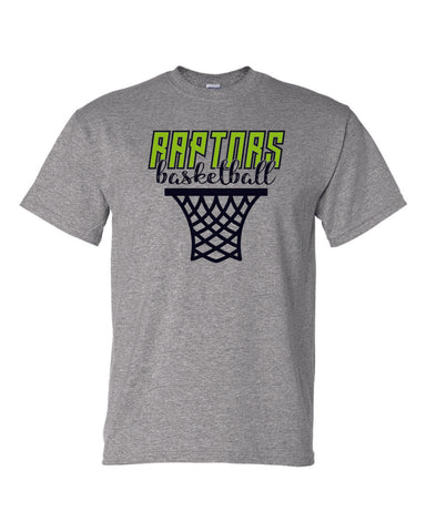 Raptors Basketball Hoop Design Basic Tee- Matte or Glitter
