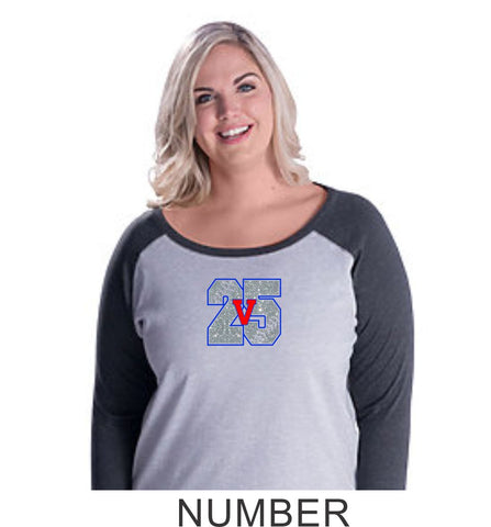 Vipers Curvy Ladies Number Raglan- Matte or Glitter