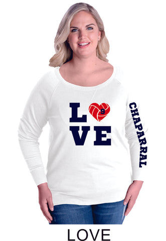Chap Volleyball Curvy Ladies Slouchy Pullover in 5 Designs- Matte or Glitter