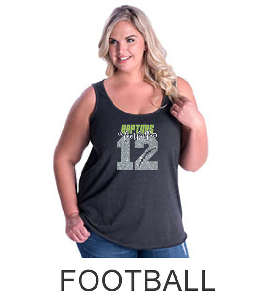 Raptors Number Curvy Ladies Tank- 4 Sports- Matte and Glitter