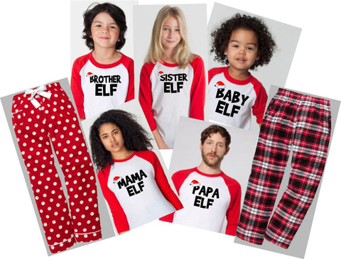 Christmas Raglan~ Elf Family Jammies