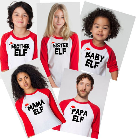 Christmas Raglan~ Elf Family