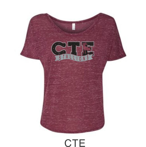 CTE Glitter Women's White or Maroon Slouchy Tee- 4 New Designs