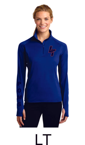 LT Poms Ladies Sport Wick 1/2 Zip Pullover- 2 Designs