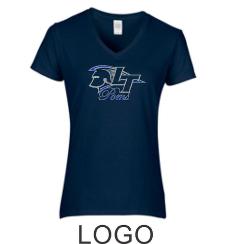 LT Poms Ladies Short Sleeve Tee- 3 Designs- Matte or Glitter