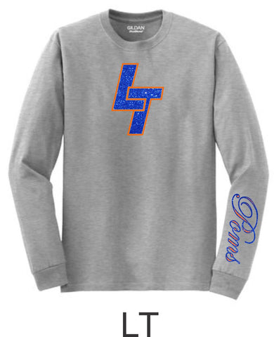 LT Poms Long Sleeve Tee - 3 designs-Matte or Glitter