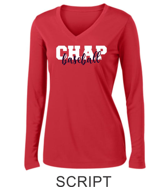 Chap Baseball Ladies Wicking Long Sleeve Tee in 3 Designs