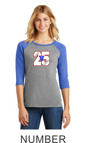 Viper Ladies Number Raglan- Matte or Glitter