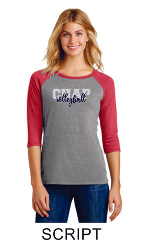 Chap Volleyball Raglan -4 designs - Matte or Glitter