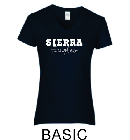 Sierra Ladies Short Sleeve Tee- 4 Designs- Matte or Glitter
