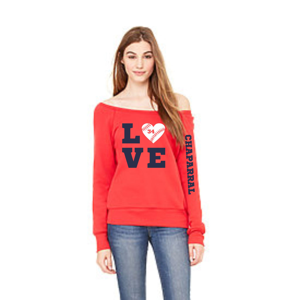 Chap Baseball Love Wideneck Sweatshirt