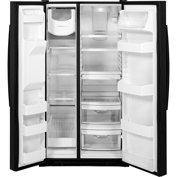 GE 25.4-cu ft Side-by-Side Refrigerator with Ice Maker (Black)