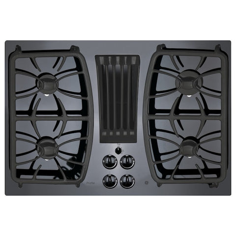GE Profile 30-in Black Gas Cooktop with Downdraft Exhaust