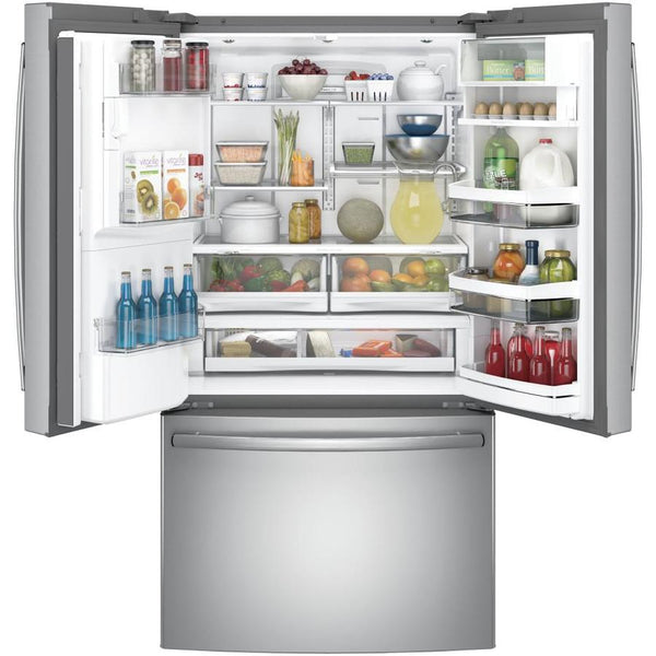 GE Profile 22.2-cu ft Counter-Depth French Door Refrigerator with Ice Maker (Stainless Steel)