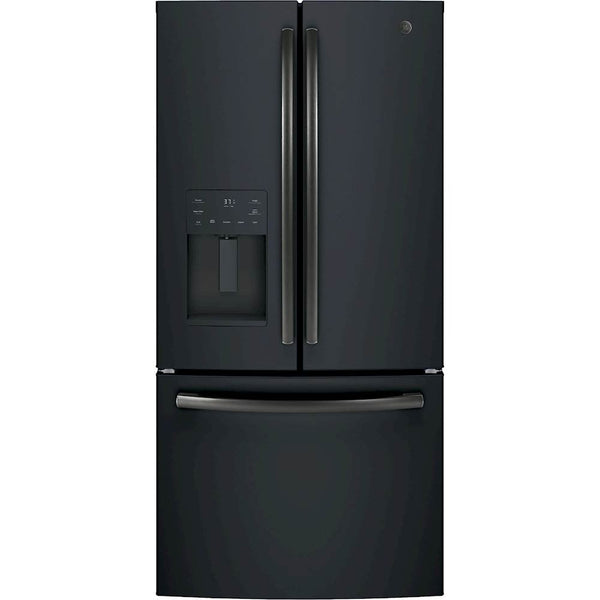GE - 17.5 Cu. Ft. French Door Counter-Depth Refrigerator - Black stainless steel