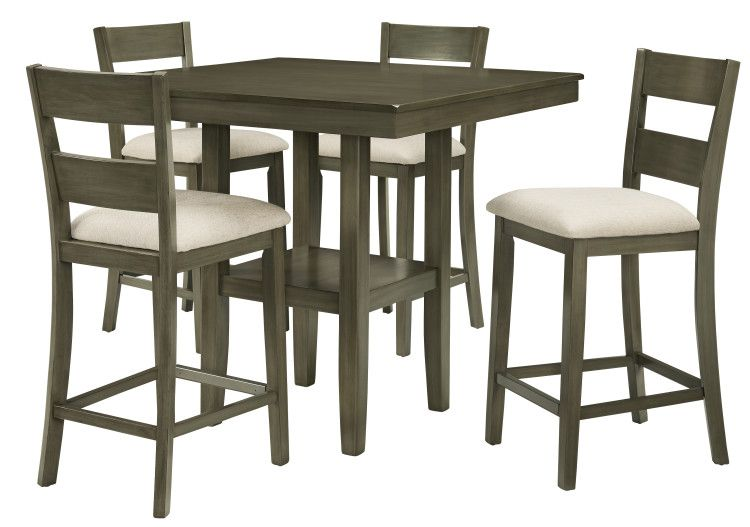 LOFT COUNTER HEIGHT TABLE WITH FOUR CHAIRS SET, GREY