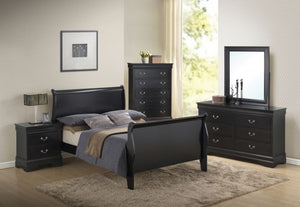Louis Philippe Black Bed Only - Queen