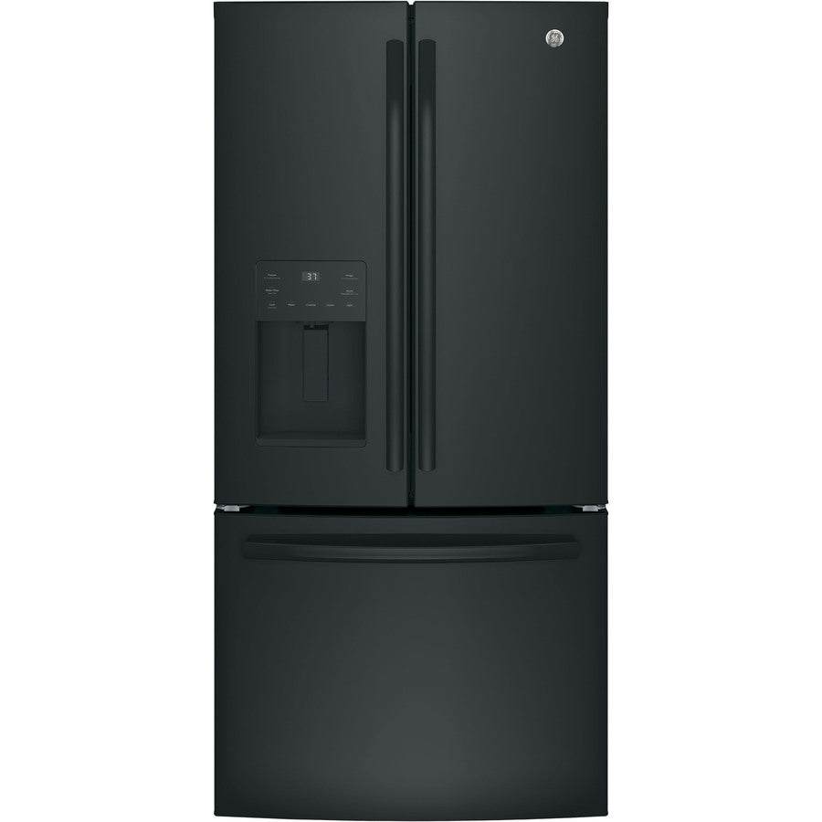 "Refrigerator - French Door/Bottom Freezer 32-33"" Wide Black - Ice through door"