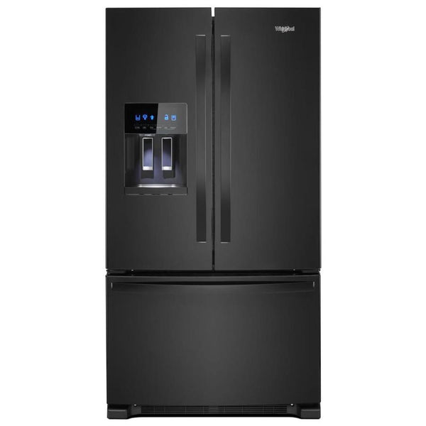"Refrigerator - French Door/Bottom Freezer 35-38"" Wide Black - Ice through Door"