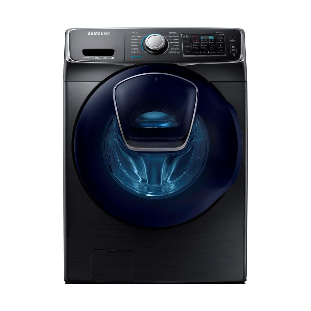 Samsung AddWash 5-cu ft High Efficiency Stackable Front-Load Washer (Black Stainless Steel)