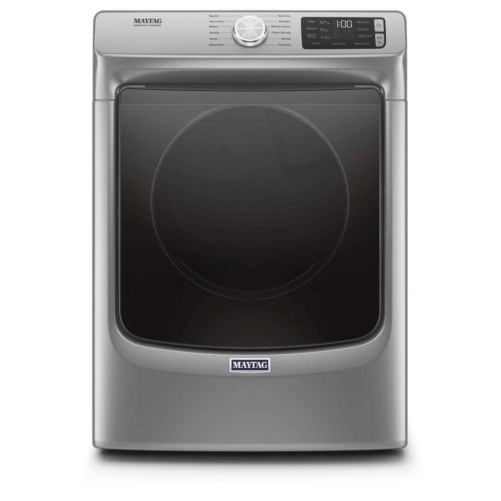 Maytag 7.4-cu ft Stackable Electric Vented Dryer with Steam (Metallic Slate)