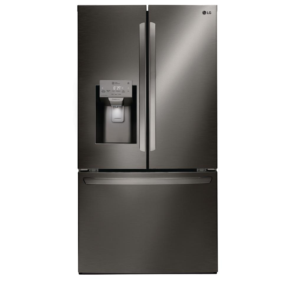 LG 26.2-cu ft French Door Smart Refrigerator Black Stainless Steel