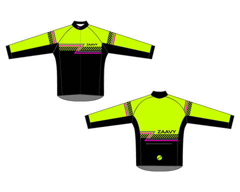 Zaavy Men's Long Sleeve Club Jersey - Hi Viz