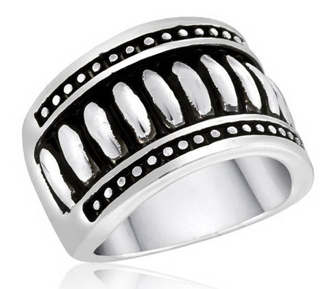 DR101-6 [Size 6-10] - Ring, Ribbed w/Border