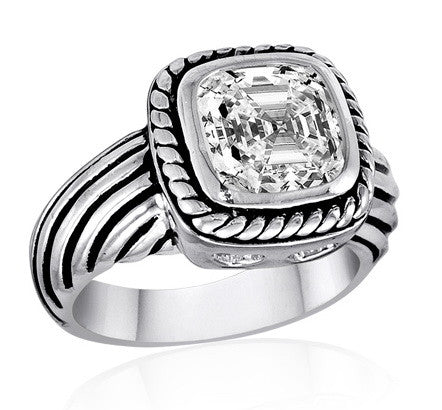 DR101-7 [Size 6-10] - Ring, Clear CZ w/Rope
